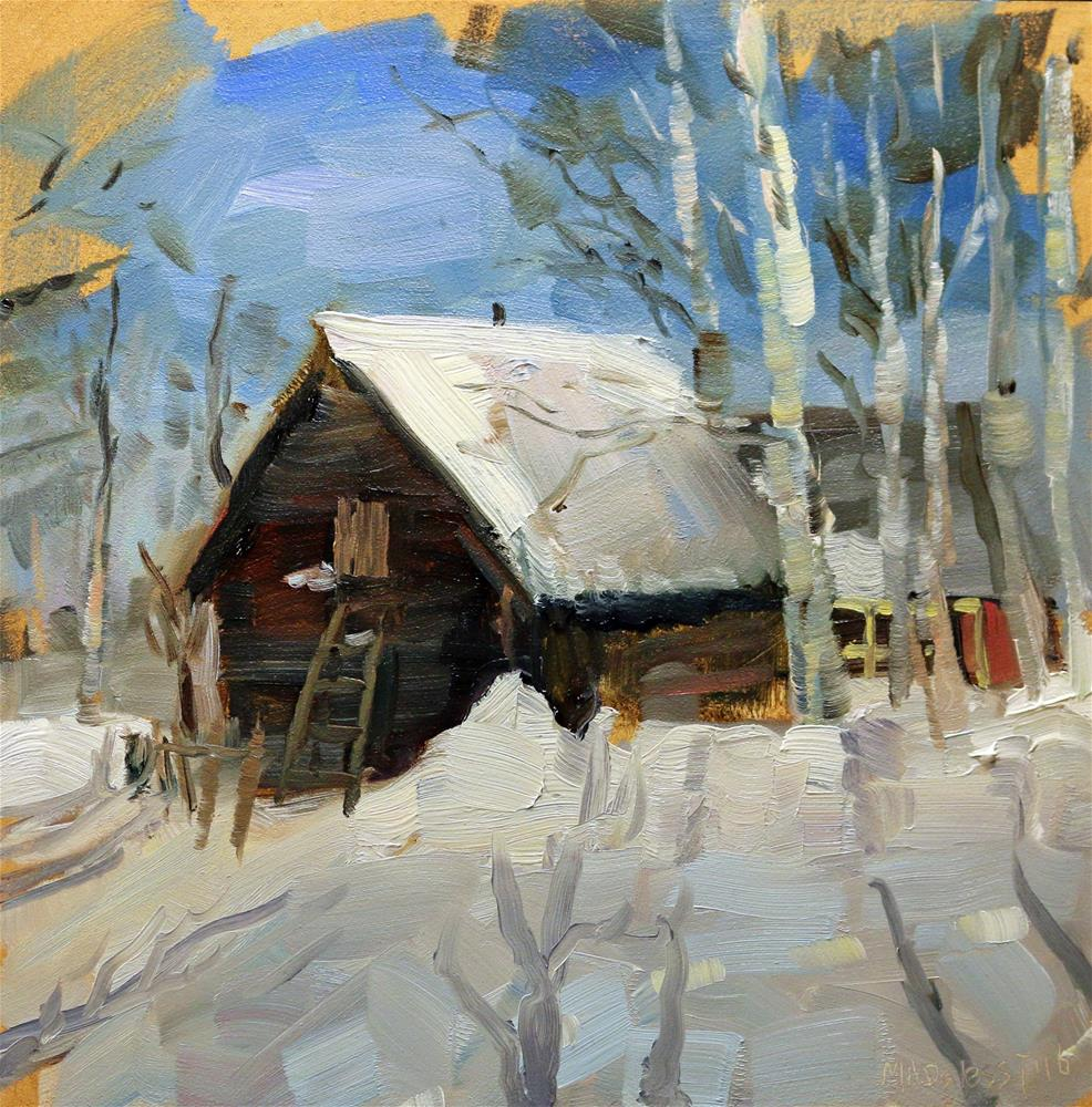"""Russian dacha in the snow"" original fine art by Miranda Dalessi"