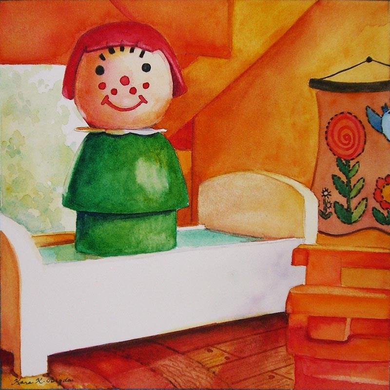 """No Jumping On The Bed!"" original fine art by Kara K. Bigda"