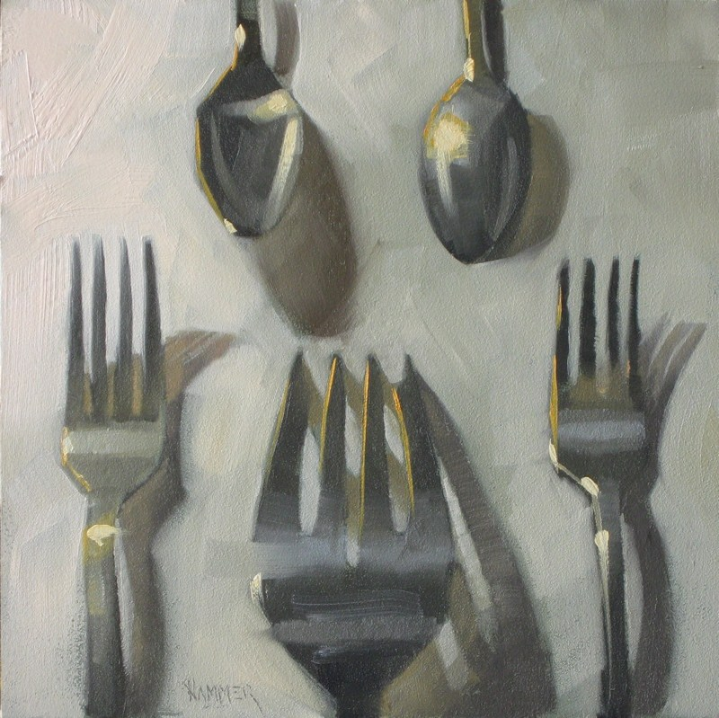 """Fork it over!  6x6 oil"" original fine art by Claudia Hammer"