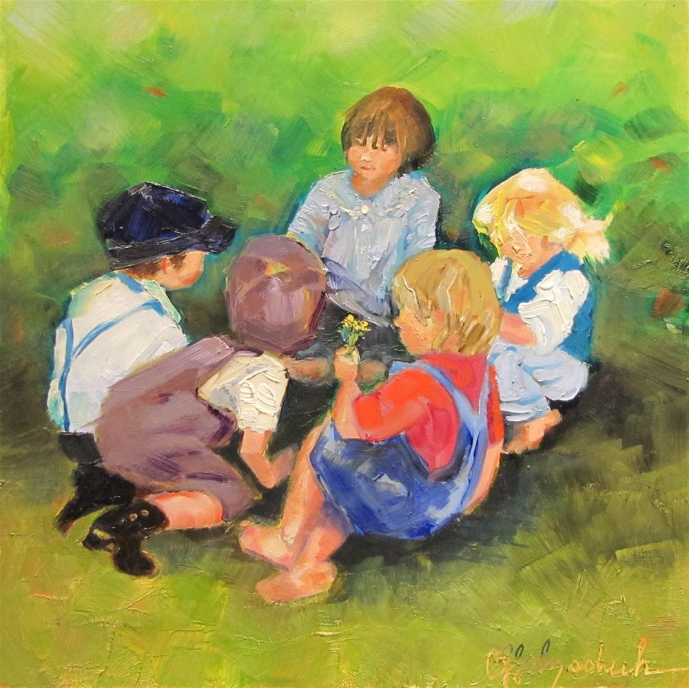 """The Storyteller   7x7  oil"" original fine art by Christine Holzschuh"
