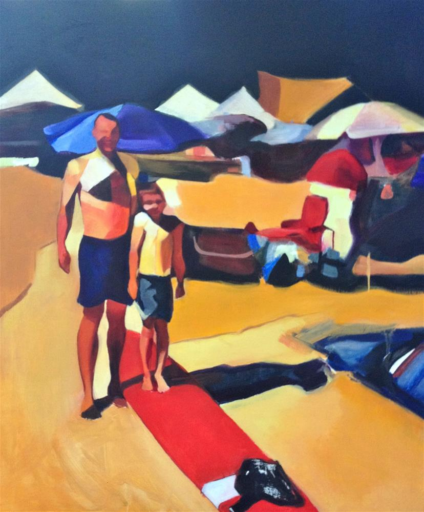 """Father and son at the beach"" original fine art by Allison Rockwell"