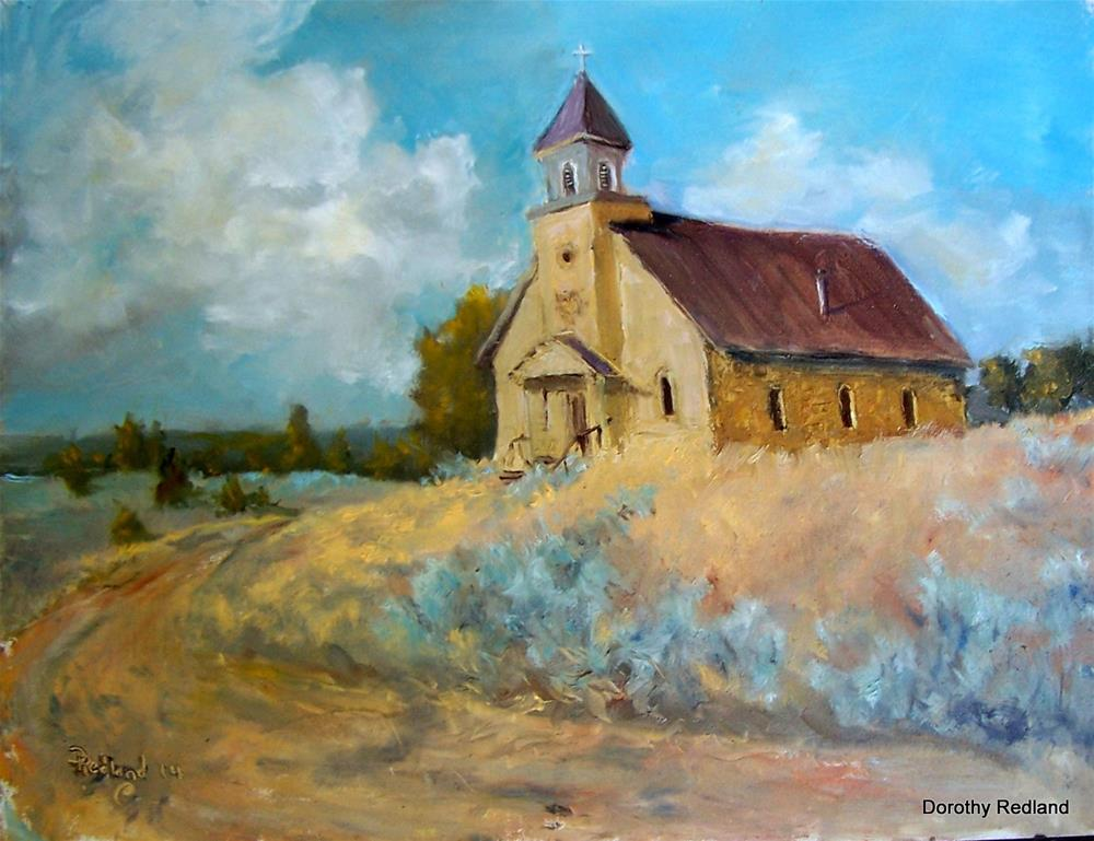 """Country Church  New Mexico"" original fine art by Dorothy Redland"