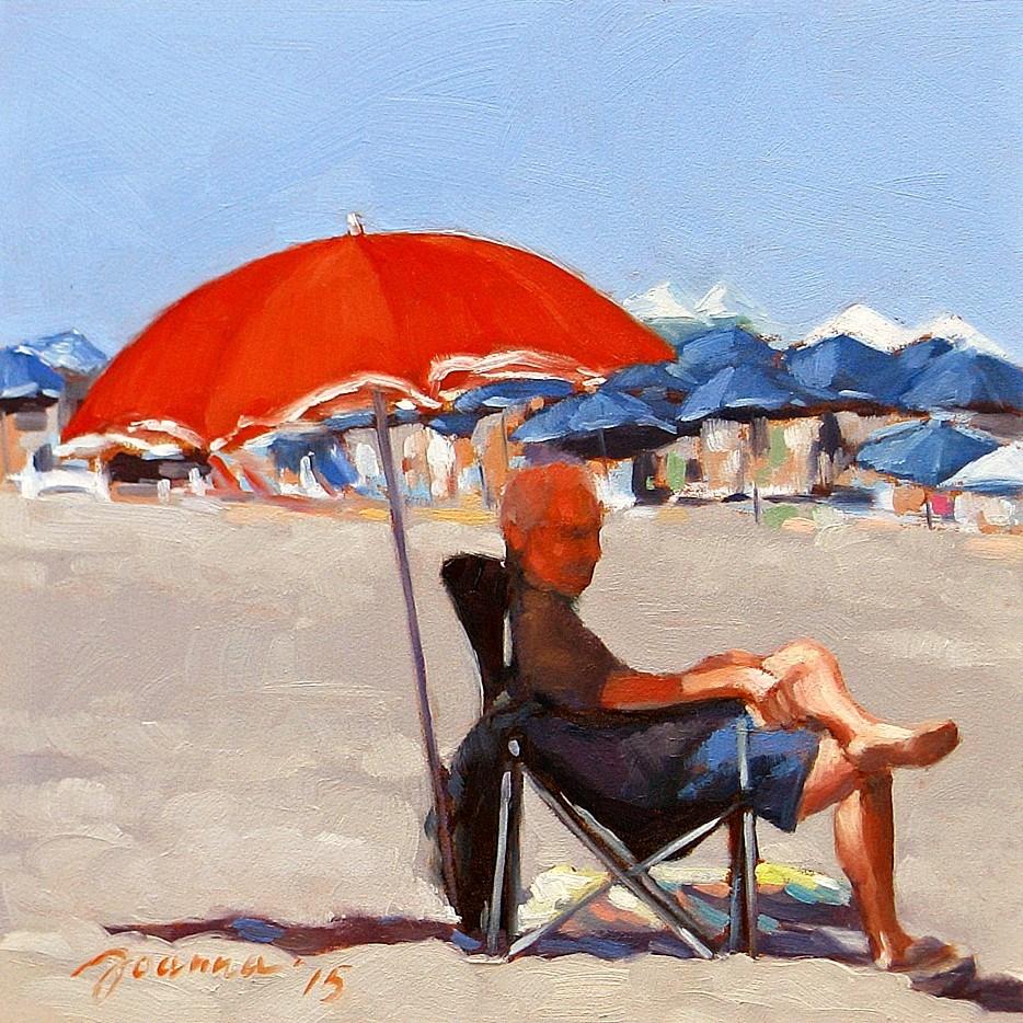 """Red--Series Painting of Beach Umbrella"" original fine art by Joanna Bingham"