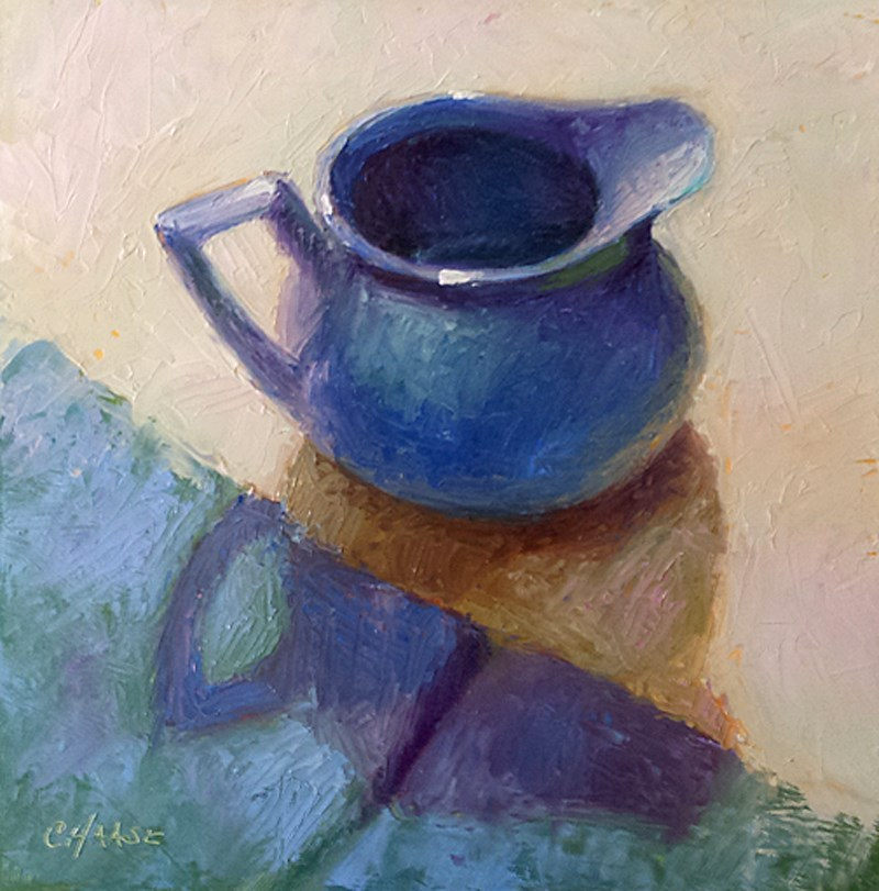 """Blue Pitcher"" original fine art by Cindy Haase"