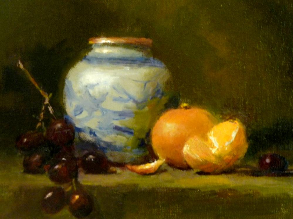 """Chinese Pot, Grapes and Tangerines"" original fine art by Susan Leider"