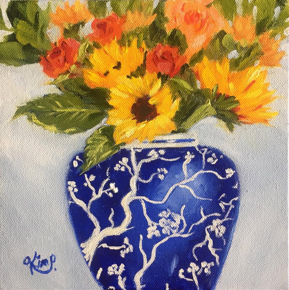 """Sunflowers and roses in blue and white vase mini bouquet "" original fine art by Kim Peterson"