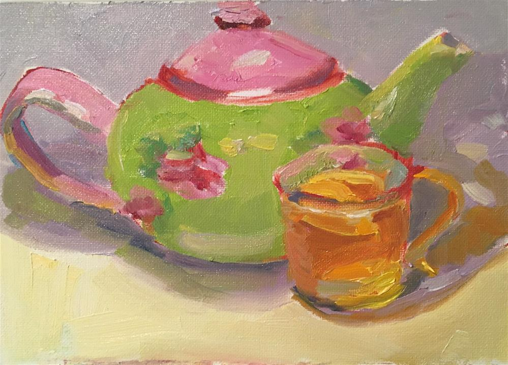 """Tea Time"" original fine art by Marcia Bergtholdt"