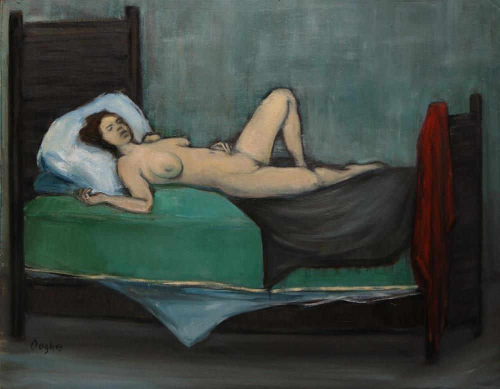 """Nude on Green"" original fine art by Angela Ooghe"