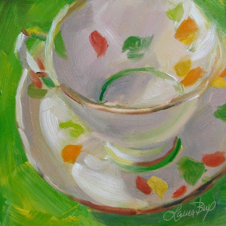 """Mom's Teacup - 325"" original fine art by Laura  Buxo"