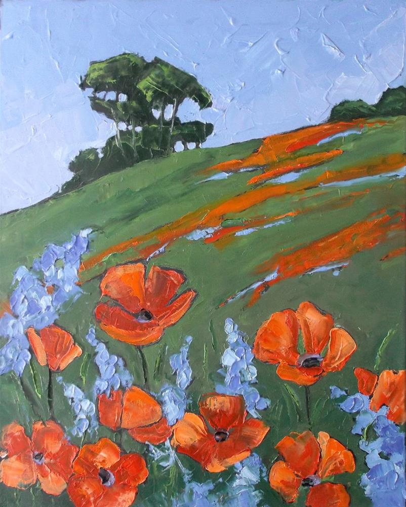 """California Poppies & Lupine"" original fine art by lynne french"