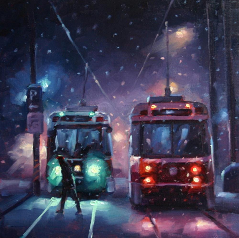 """Night Snow at Queen's Quay, Toronto"" original fine art by Catherine Jeffrey"