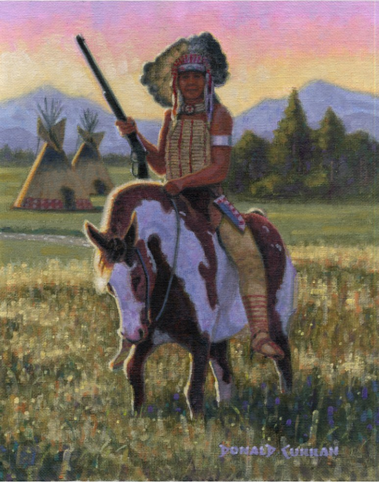 """Indian Warrior"" original fine art by Donald Curran"