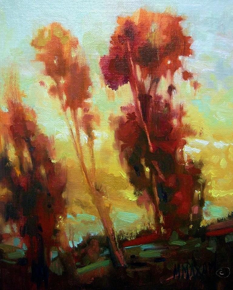 """Backlit Hillside"" original fine art by Mary Maxam"