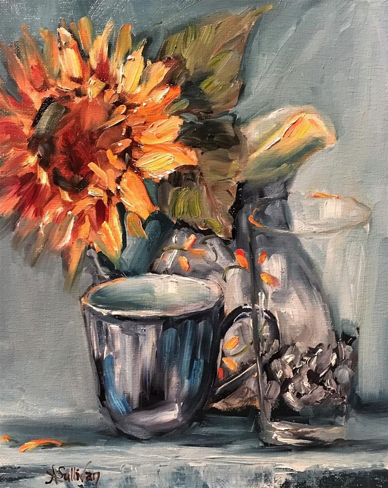 """Faraway Gazing sunflower demo still life by Alabama Artist Angela Sullivan"" original fine art by Angela Sullivan"