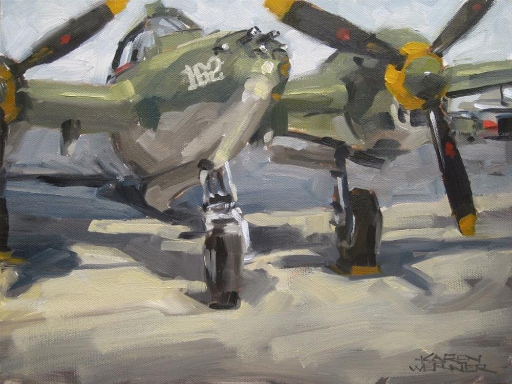 """P-38 Lightning"" original fine art by Karen Werner"