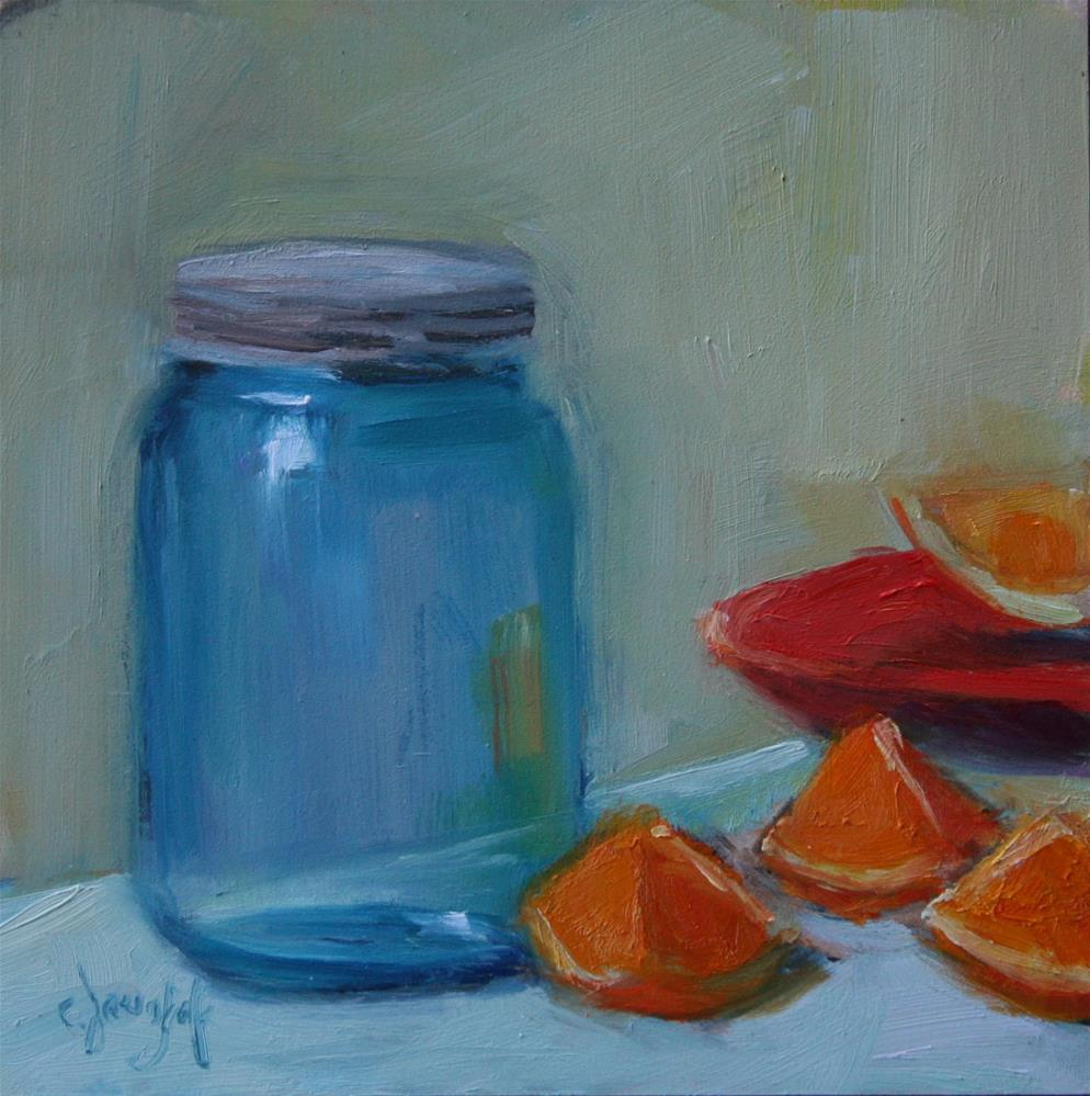 """Jar with oranges #1"" original fine art by Carol Josefiak"