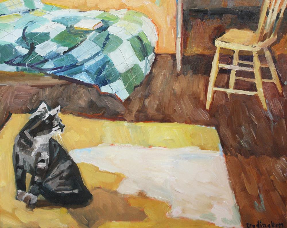 """Cat on a Rug"" original fine art by Jessie Dodington"