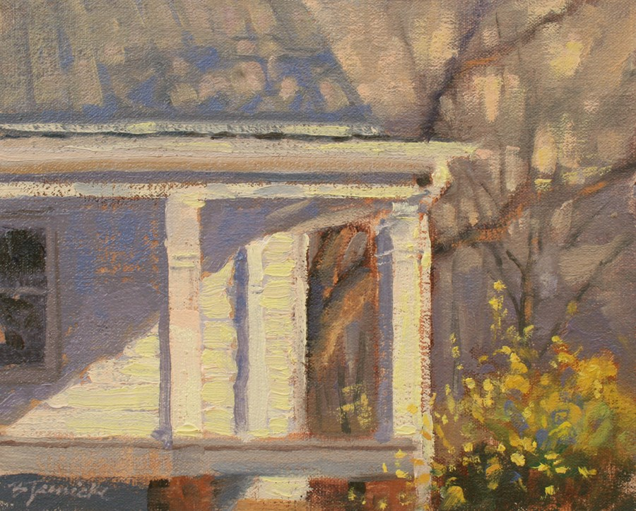 """Front Porch Forsythias"" original fine art by Barbara Jaenicke"
