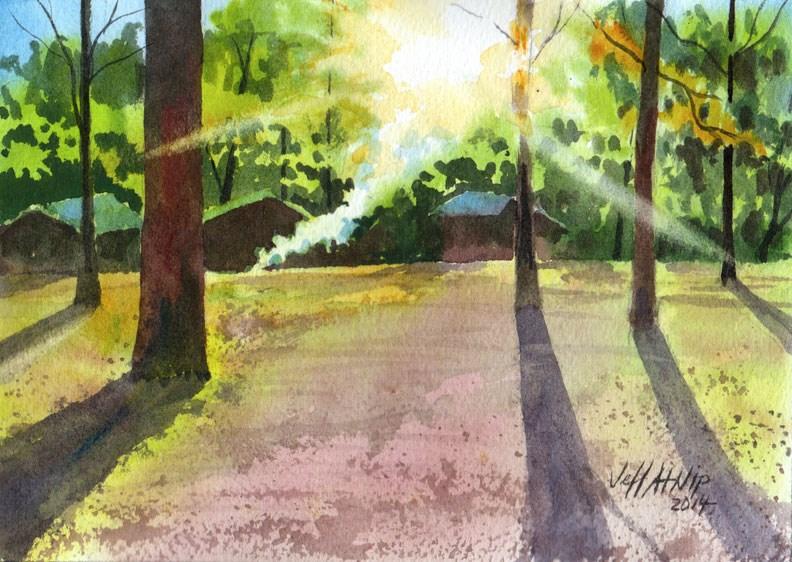 """Sunrise and Campfire at Old Kia Kima"" original fine art by Jeff Atnip"