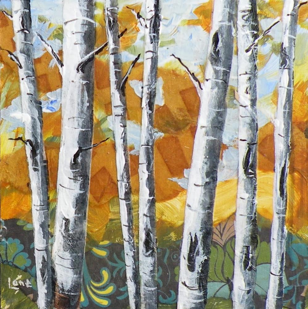 """ASPEN 7 ORIGINAL MIXED MEDIA 4X4 ON PANEL © SAUNDRA LANE GALLOWAY"" original fine art by Saundra Lane Galloway"