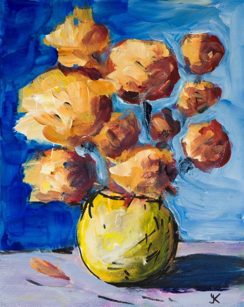 """Yellow Flowers, study #9"" original fine art by Yulia Kazansky"