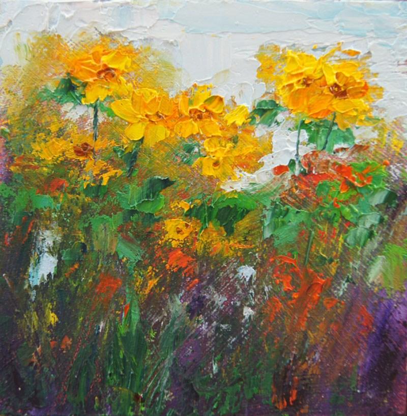 """Sunshine Flowers Miniature Treasure painting"" original fine art by Marion Hedger"