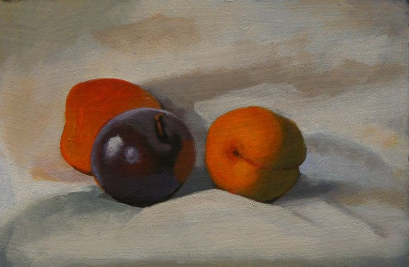 """Apricots and plum"" original fine art by Peter Orrock"