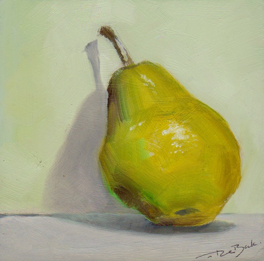 """pear"" original fine art by V. DeBak"