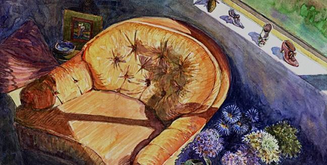 """Watercolor: Orange Chair"" original fine art by Belinda Del Pesco"