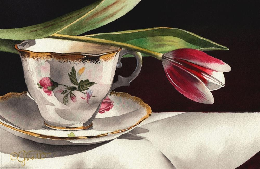 """Tulip & Tea Cup Watercolor"" original fine art by Jacqueline Gnott, TWSA, WHS"