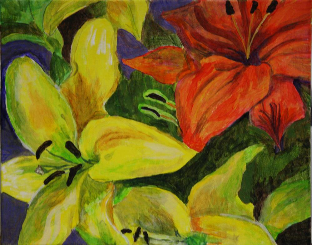 """Yellow and Orange Lilies"" original fine art by Terri-Anne Barge"