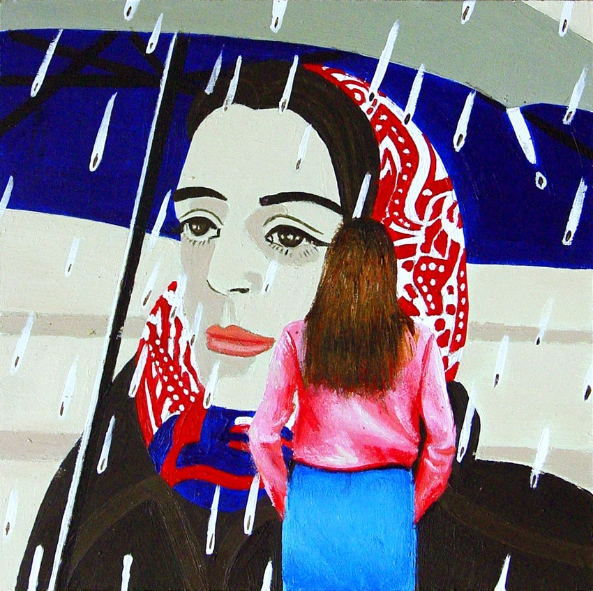 """Blue Umbrella- Painting Of Woman Enjoying Painting By ALex Katz"" original fine art by Gerard Boersma"