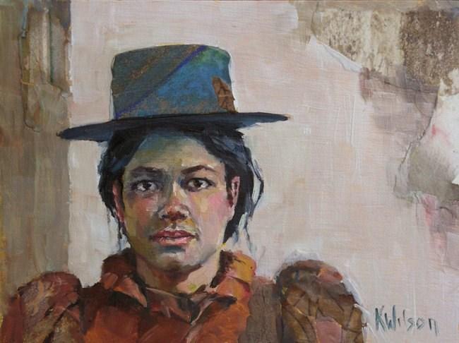 """""""Blue Hat"""" original fine art by Katie Wilson"""