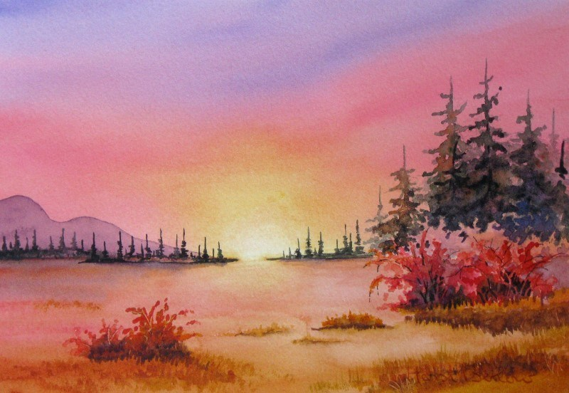 """Sunset over the mountain meadow"" original fine art by Horst Berlow"