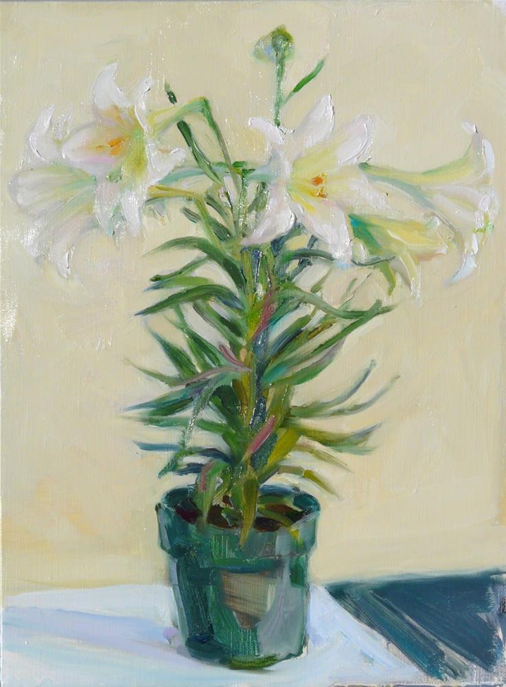 """Easter Flowers,still life,oil on linen,16x12,price$300"" original fine art by Joy Olney"
