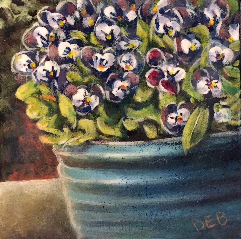 """Pot o' Pansies"" original fine art by Debbie Yacenda"