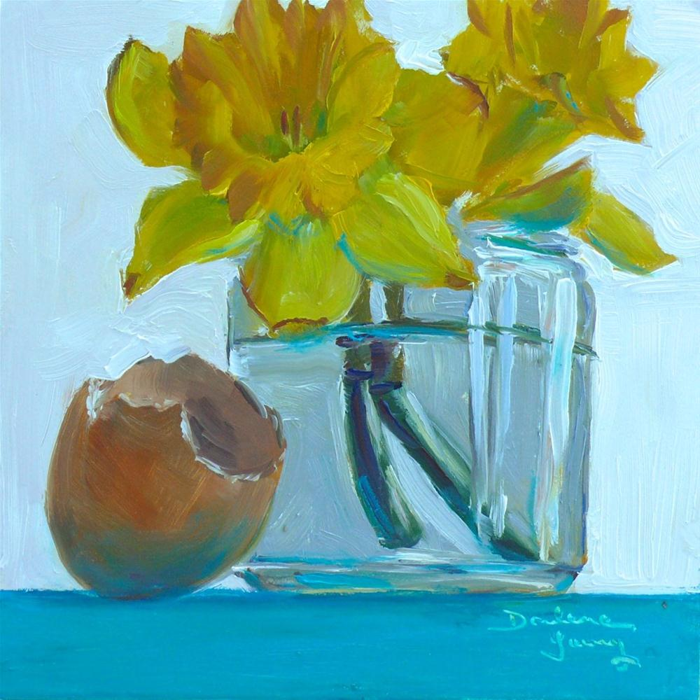 """623 Daffodils in a Jar"" original fine art by Darlene Young"