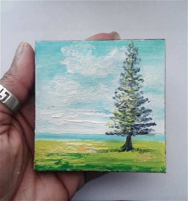 """Mini Oil Painting Landscape Tree Grass"" original fine art by Camille Morgan"
