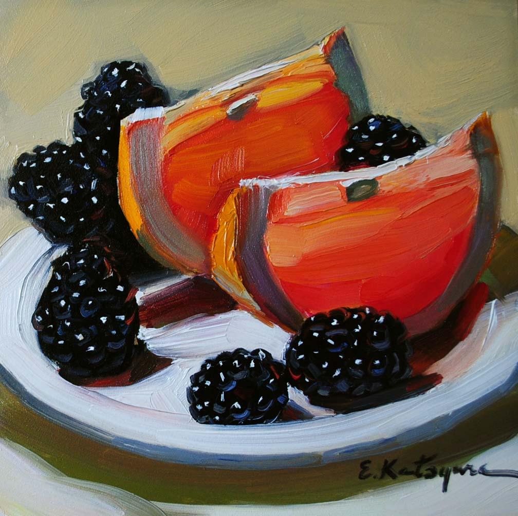 """Grapefruit & Blackberries"" original fine art by Elena Katsyura"