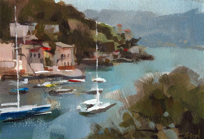 """Acrylic Quick Study - Portofino"" original fine art by David Lloyd"