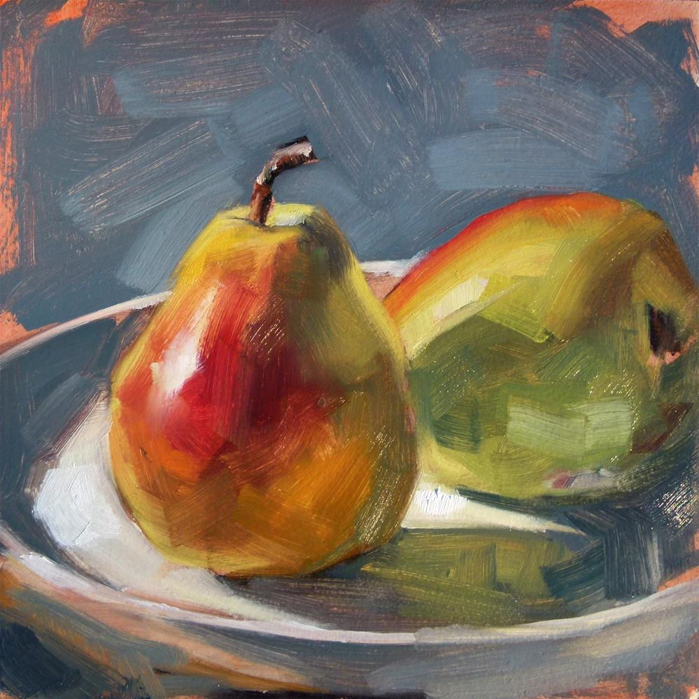 """Pears in Sun"" original fine art by Deb Anderson"