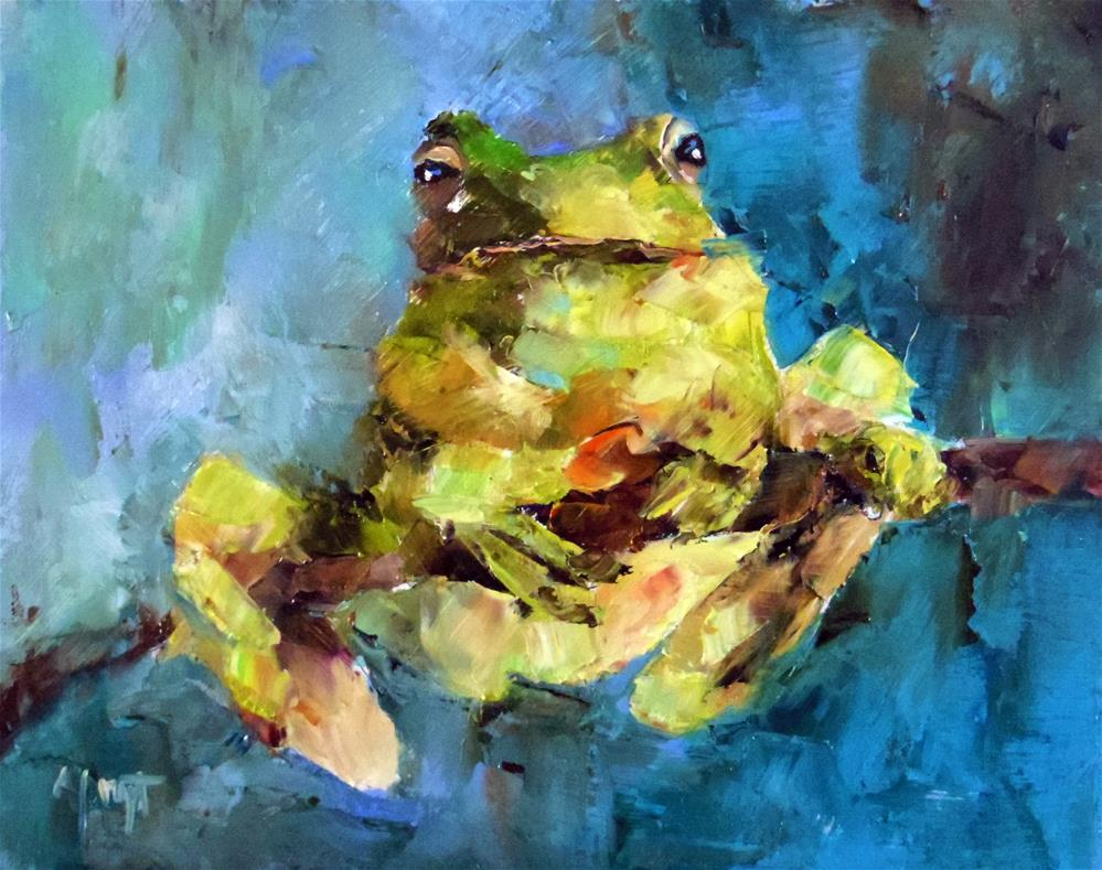 """Frog"" original fine art by Anne Marie Propst"