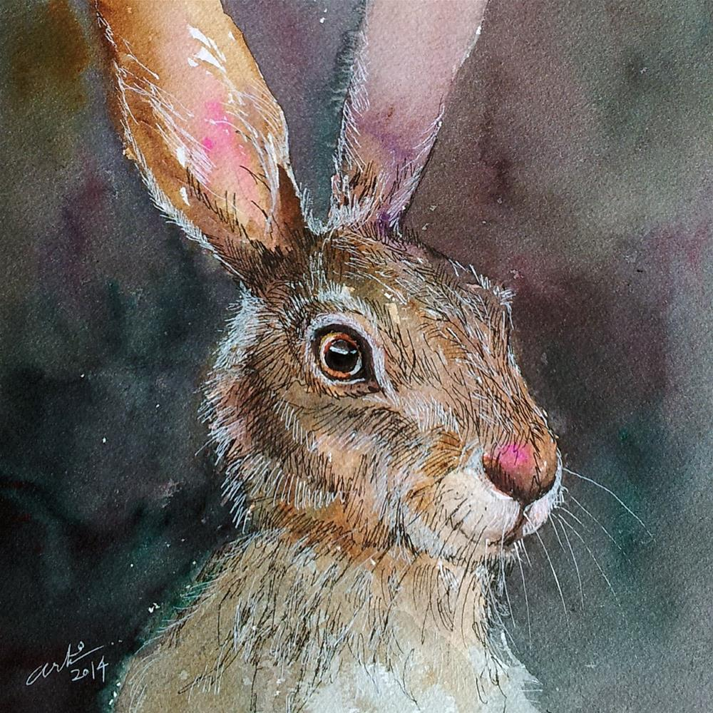 """Dusty_Brown Hare"" original fine art by Arti Chauhan"