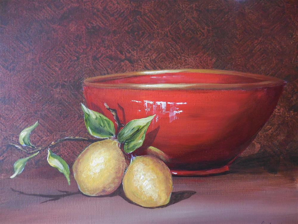 """The Red Bowl"" original fine art by Terri Nicholson"