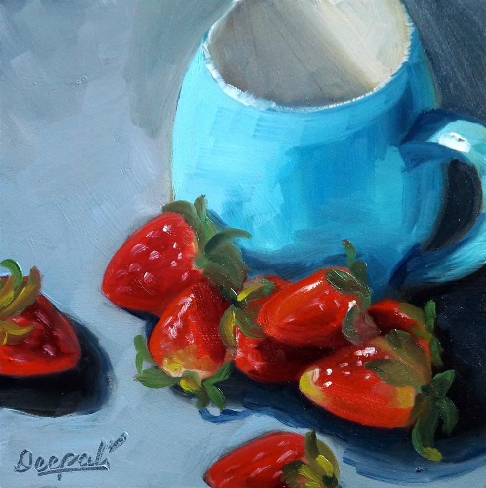 """Strawberries and blue cup"" original fine art by Dipali Rabadiya"