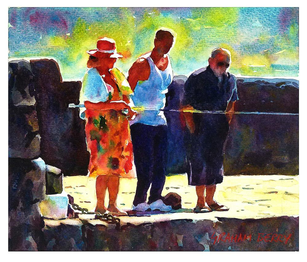 """Watching the woman fishing."" original fine art by Graham Berry"