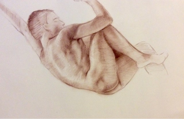 """""""Study of young male nude"""" original fine art by Hilary J. England"""
