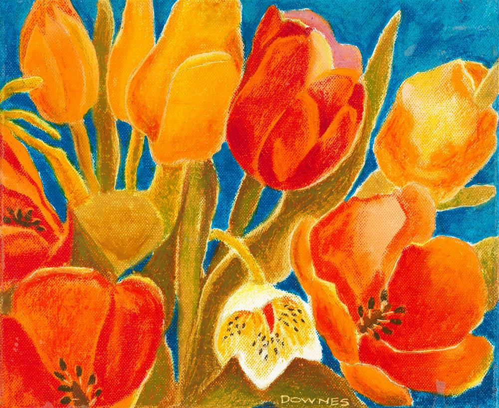 """126 STYLISED FLOWERS 2"" original fine art by Trevor Downes"