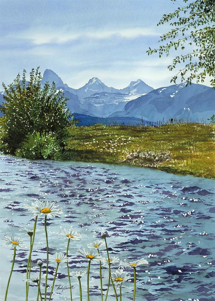 """Tetons and Daisies"" original fine art by Andy Sewell"