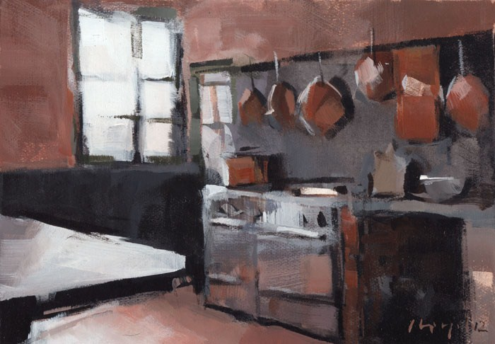 """Kitchen with Copper Pots - Quick Study"" original fine art by David Lloyd"